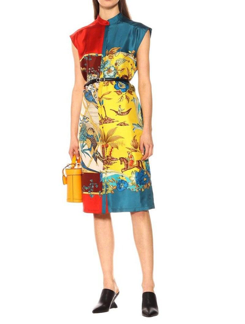 Robe en soie imprimé Animal perroquet PIXY noir ceinture en cuir or robes d'été Harajuku dames vêtements de Style chinois sukienki