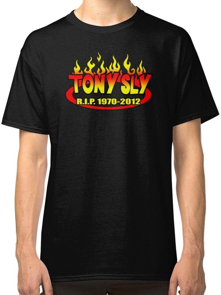 R.I.P. TONY SLY Mens Black T-Shirt Tees Clothing
