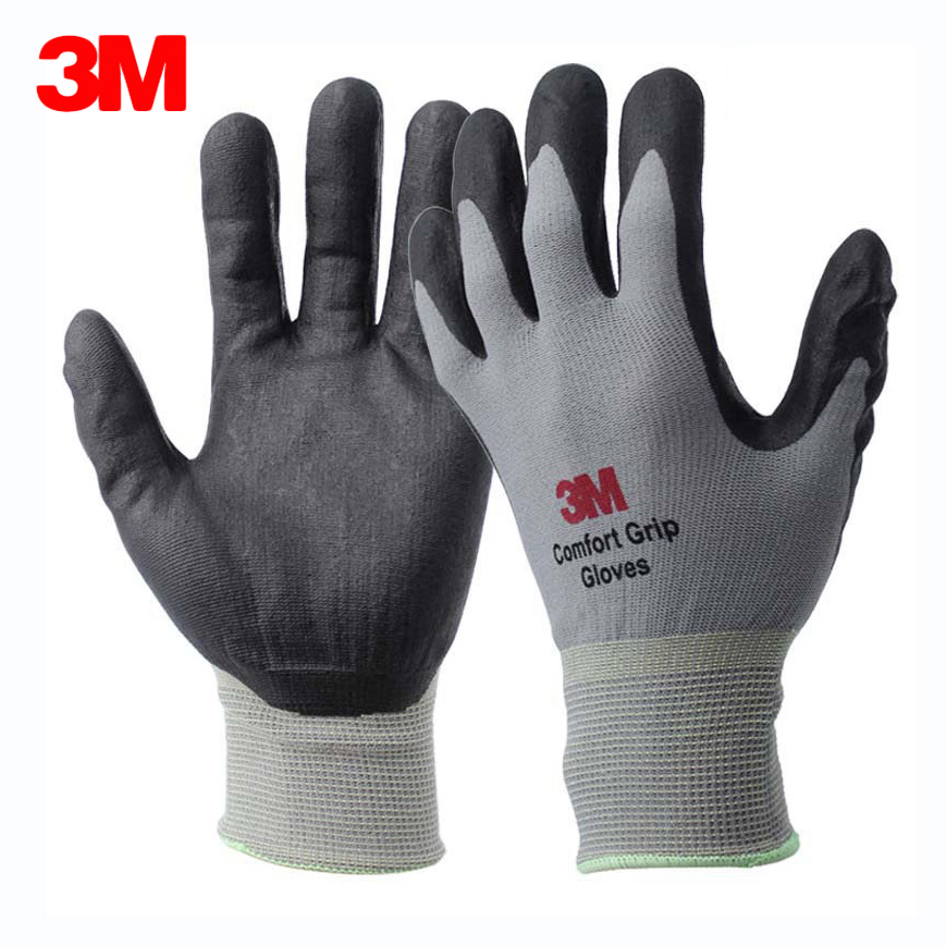 3M Work Gloves Comfort Grip Nitrile Foam Coated Anti-slip Wear-resistant Safety Gloves General Use Working Protective Glove nmsafety nitrile solvent gloves oil resistant slip resistant glove chemical work glove