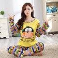 Sorriso Roupas Baratas 2016 da Queda do Outono Moda Carta Bonito Macaco Algodão Casual Pijamas Pijamas Pijamas Para As Mulheres Tamanho M-XL