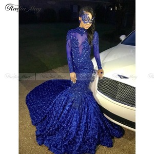 Image 3 - Robe de bal sirène, motif Floral 3D, col montant, manches longues, grande taille africaine, tenue de soirée formelle, Train Court, bleu Royal