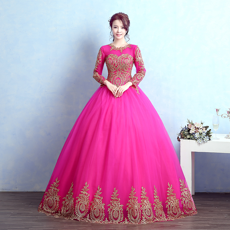 luxury long sleeve blue/hot pink golden embroidery ball gown ...