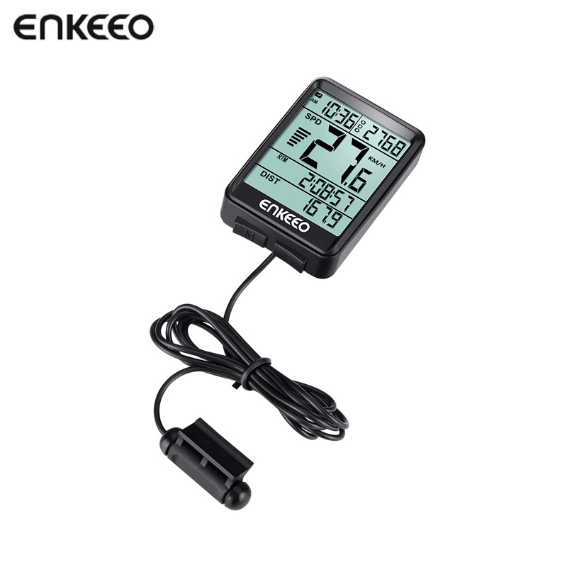 Enkeeo BKV-1517 Wired Bike Computer Stopwatch with Speed Tracking Speedometer Trip Time Distance Recording Odometer for Cycling