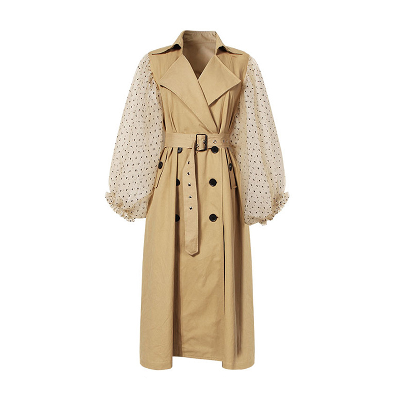 Autumn 2019 Runway Designer Women Patchwork   Trench   Coat Elegant Polka Dot Lantern Sleeve Double Breasted Female Vintage   Trench