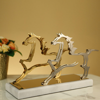 Luxurious A Pair Of Stanless Steel Running Horses Abstract Statue Home Decor Crafts Room Decoration Objects Marble Wedding Gifts