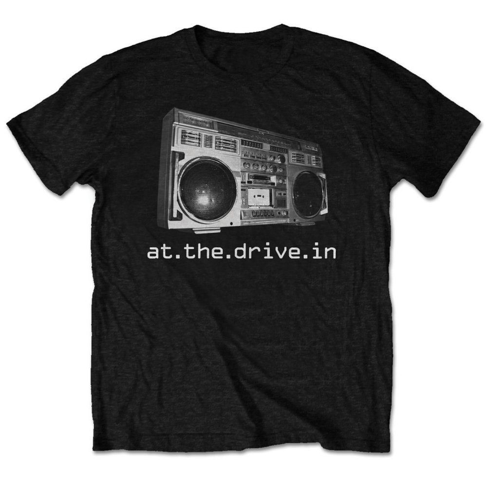 AT THE DRIVE IN Boombox T-SHIRT - NUOVO E ORIGINALE T shirt Men Black Short Sleeve Cotton Hip Hop T-Shirt Print Tee Shirts