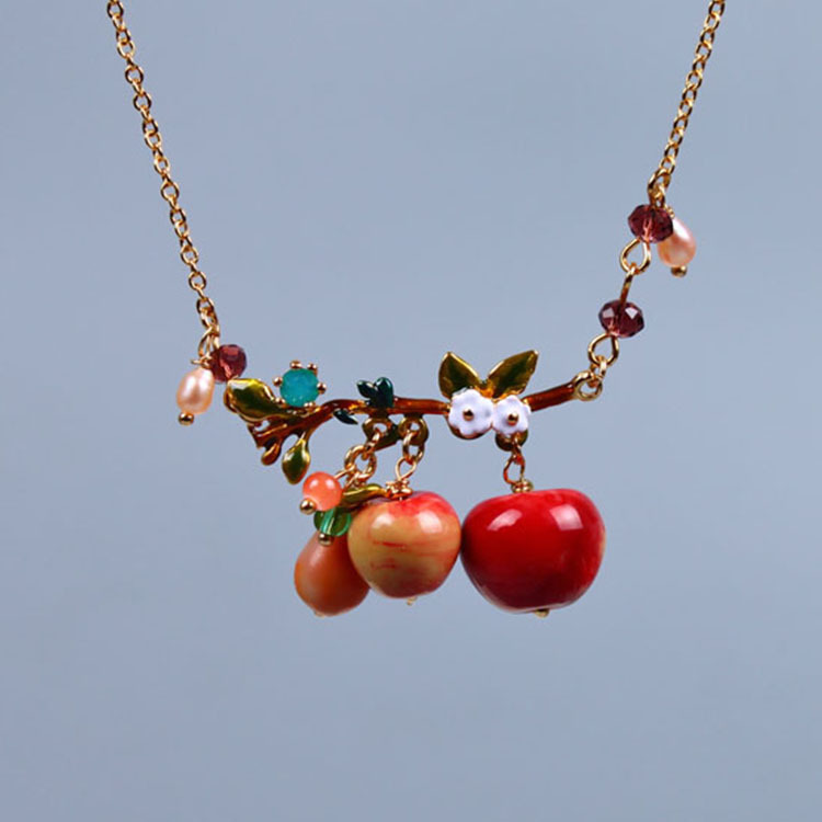 France Dyxytwe Apple Fruit Necklace For Women Luxury Elegant Good Quality Party Necklaces fruit quality traits in apple