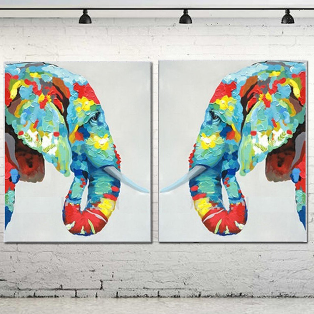 100%Handmade Wall Decor Works 2 Pieces Abstract Animal Modern Wall ...
