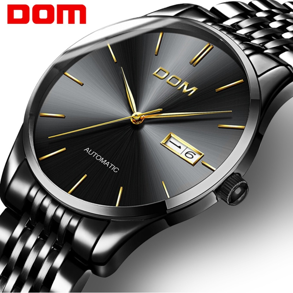 DOM Watches Men Business Men's Mechanical Watches Fashion Automatic Watch Man Waterproof Steel Clock Relogio Masculino M-89