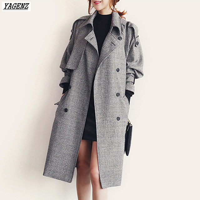 YAGENZ 2017 Spring Autumn Woman Trench Coat  Fashion Costume Medium Long Windbreaker Outwears Loose Large Size Casual Tops Belt 2