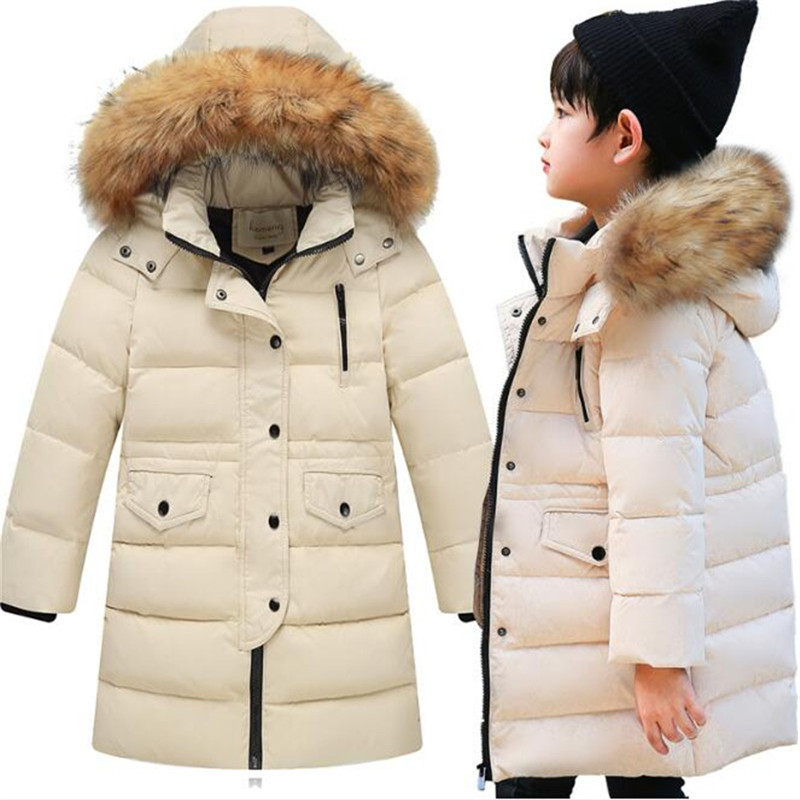 -30 Degrees Cold Winter Children Thickening Warm Down Jackets Girls Long Section Hooded Coats Boys Fashion Big Fur Collar Jacket boys girls down jacket long section children winter thickening outerwer 80