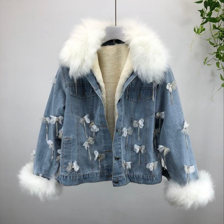 Winter Warm Coat Women New Fashion Rhinestone Tassel Embroidery Flowers Splice Real Fur Collar Denim Jacket   Parkas   Two-piece
