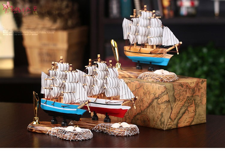 Wooden Sailing Ship Handmade Carved Model Boat
