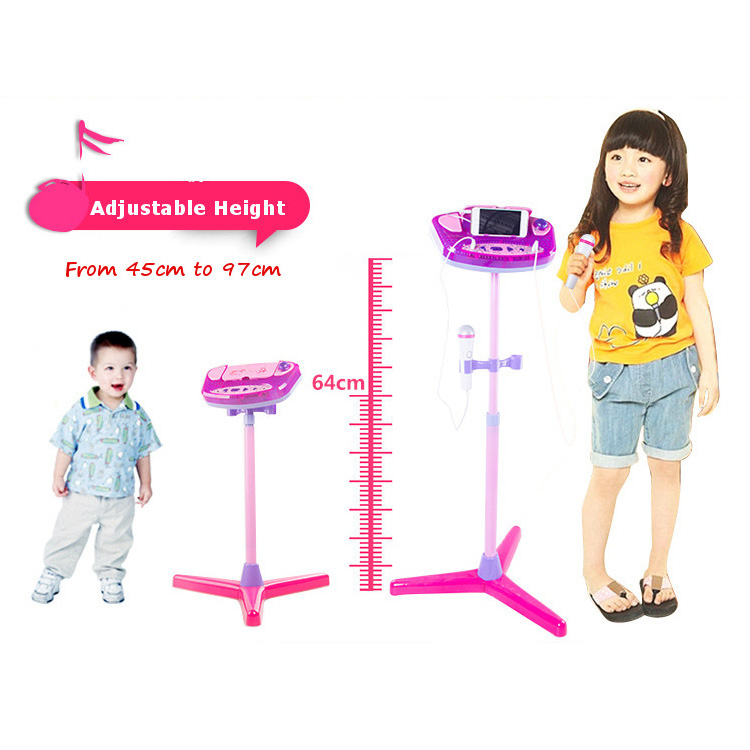 Children Karaoke Machine Adjustable Stand With 2 Microphones AUX Cable Kids Boys Girls Music Play Toys Set BM88