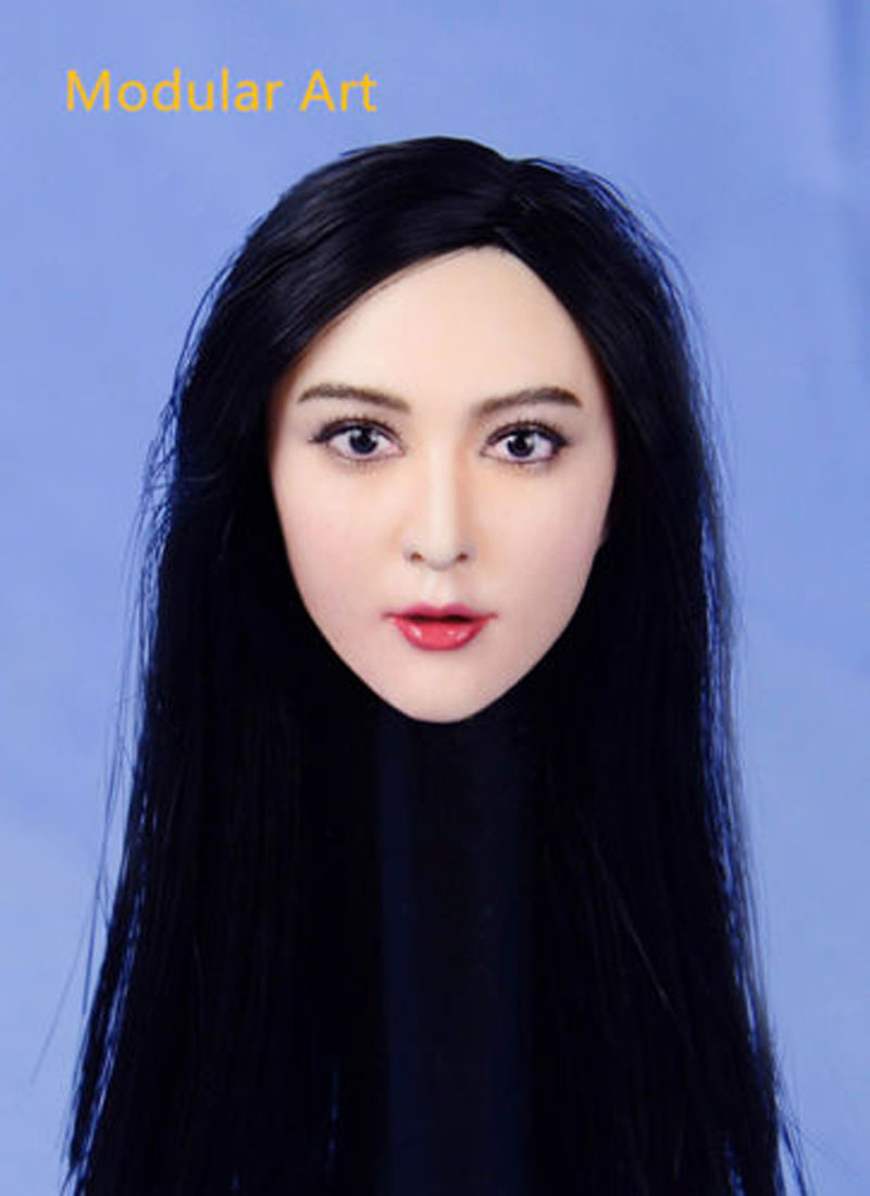 ФОТО Fan Bingbing Female Head Sculpts 1/6 Scale Chinese Woman Star Black Hair Head Carving Model Toys F 12
