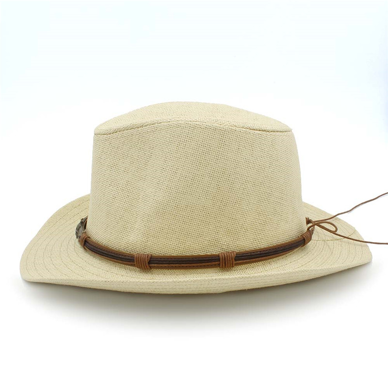 6bb1a183e84 Summer Straw Women Men Western Cowboy Hat For Lady Cowgirl Dad Beach Sun  Hat Sombrero Cap Size 58CM Good Package-in Cowboy Hats from Men s Clothing  ...