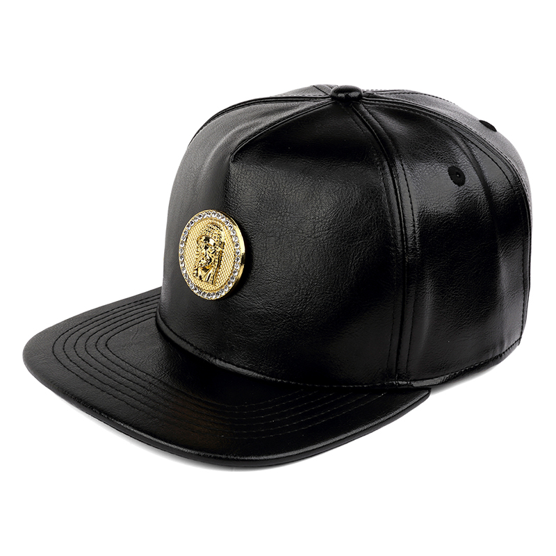 NYUK Crystal Rhinestone Gold Christ Jesus Baseball Cap Black Leather  Adjustable Mens Casual Unisex Snapback Hat Cool Boy Hip Hop . 2d1b4fbab6a
