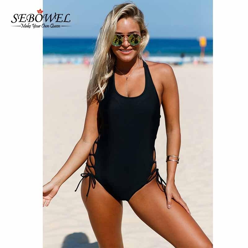 SEBOWEL 2018 Sexy Lace up One Pieces Swimsuit Women Side Accent Open Monokini Padded Swimwear Bangdage Swim Suit Plus size XXL цена и фото