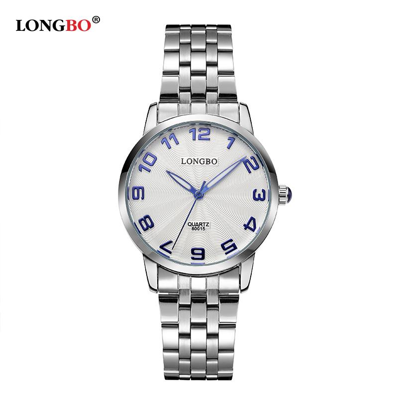 Prix pour 2017 mode longbo marque montre hommes en acier inoxydable montres à quartz femmes 80015 reloj para hombre de la marca supérieure de lujo