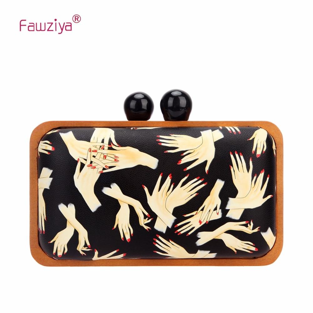Fawziya Hand Muster Kupplungen Holz Rahmen Abend Kupplung Geldbörsen Für Frauen