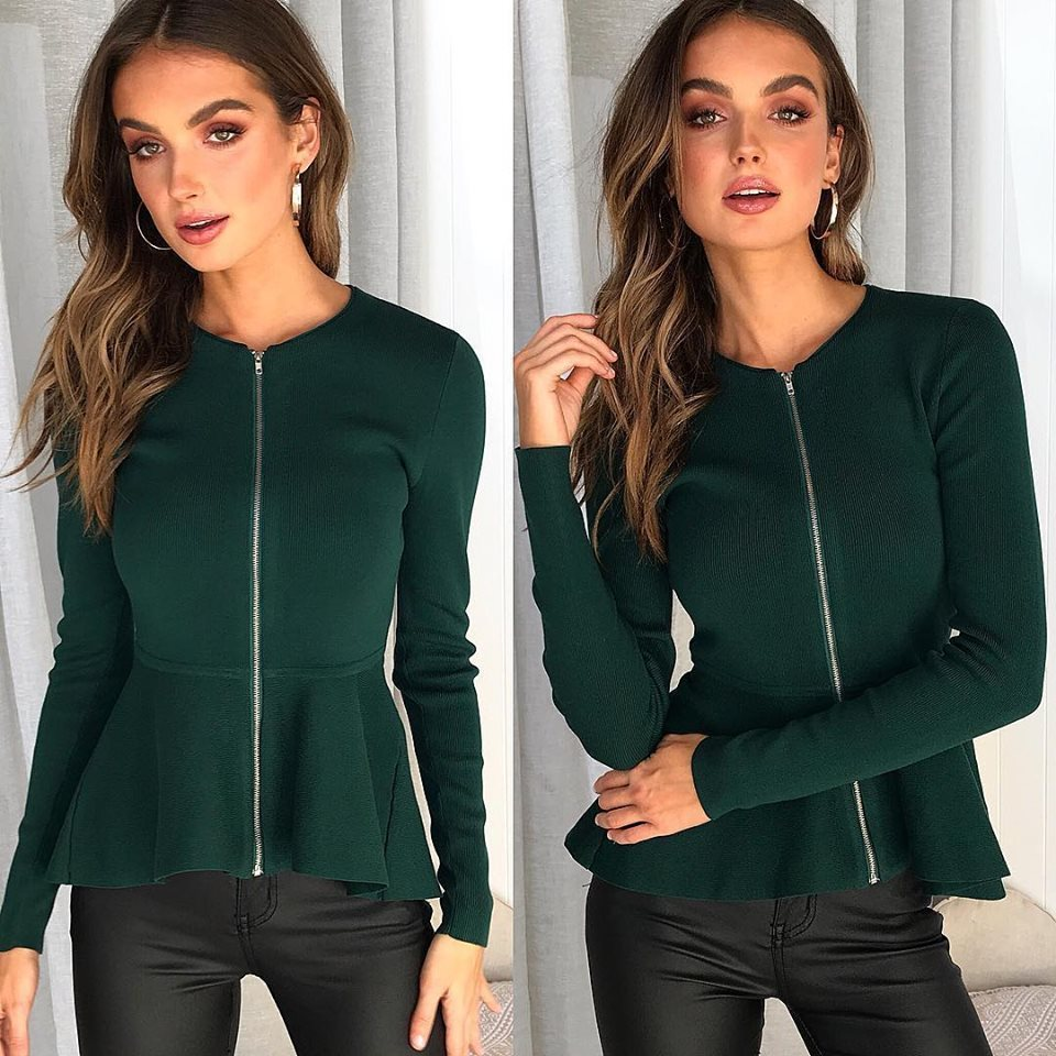 2018 Fall Womens Tops And Blouses Long Sleeve Front Zipper Women Blouse Black Elegant Office Shirt Work Wear Vetement Femme