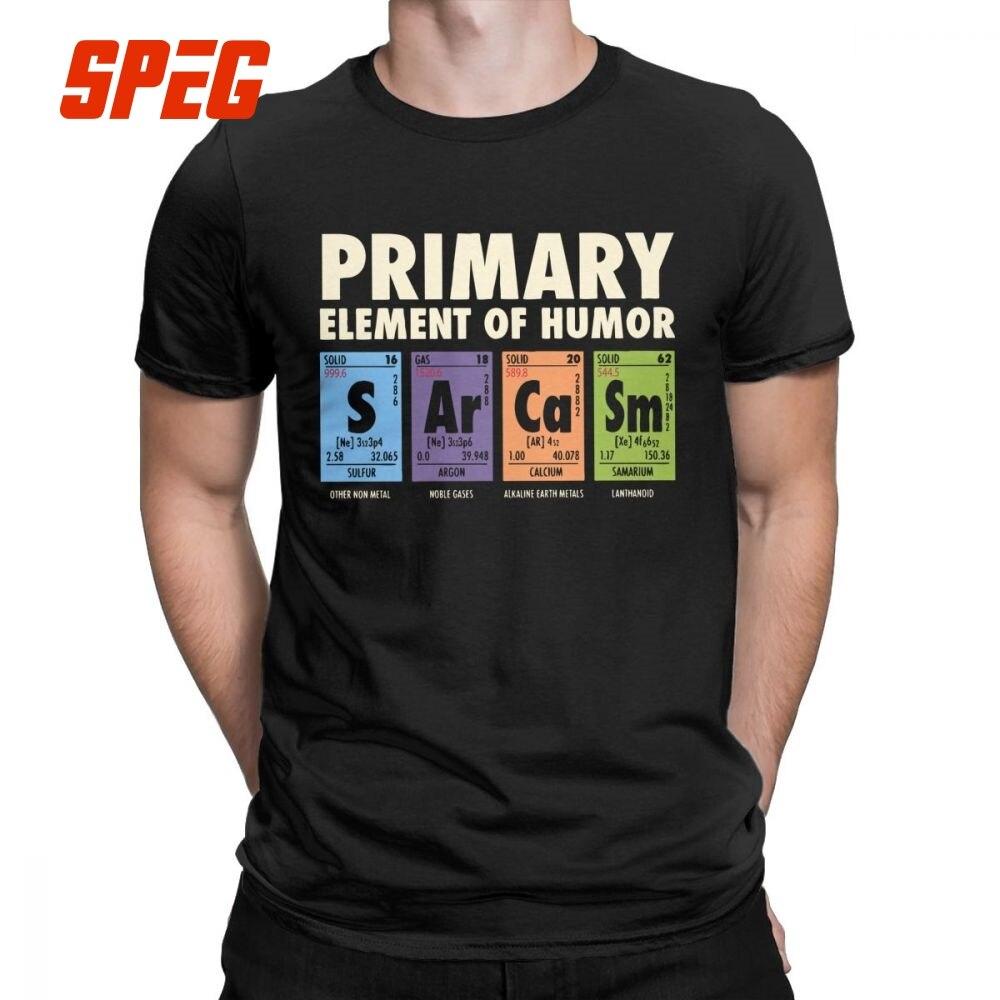 Tabela periódica De Humor Funny T Shirt do Homem S Ar Ca Sm Ciência Sarcasmo Elementos Primários Química T-Shirt de Algodão tees Plus Size