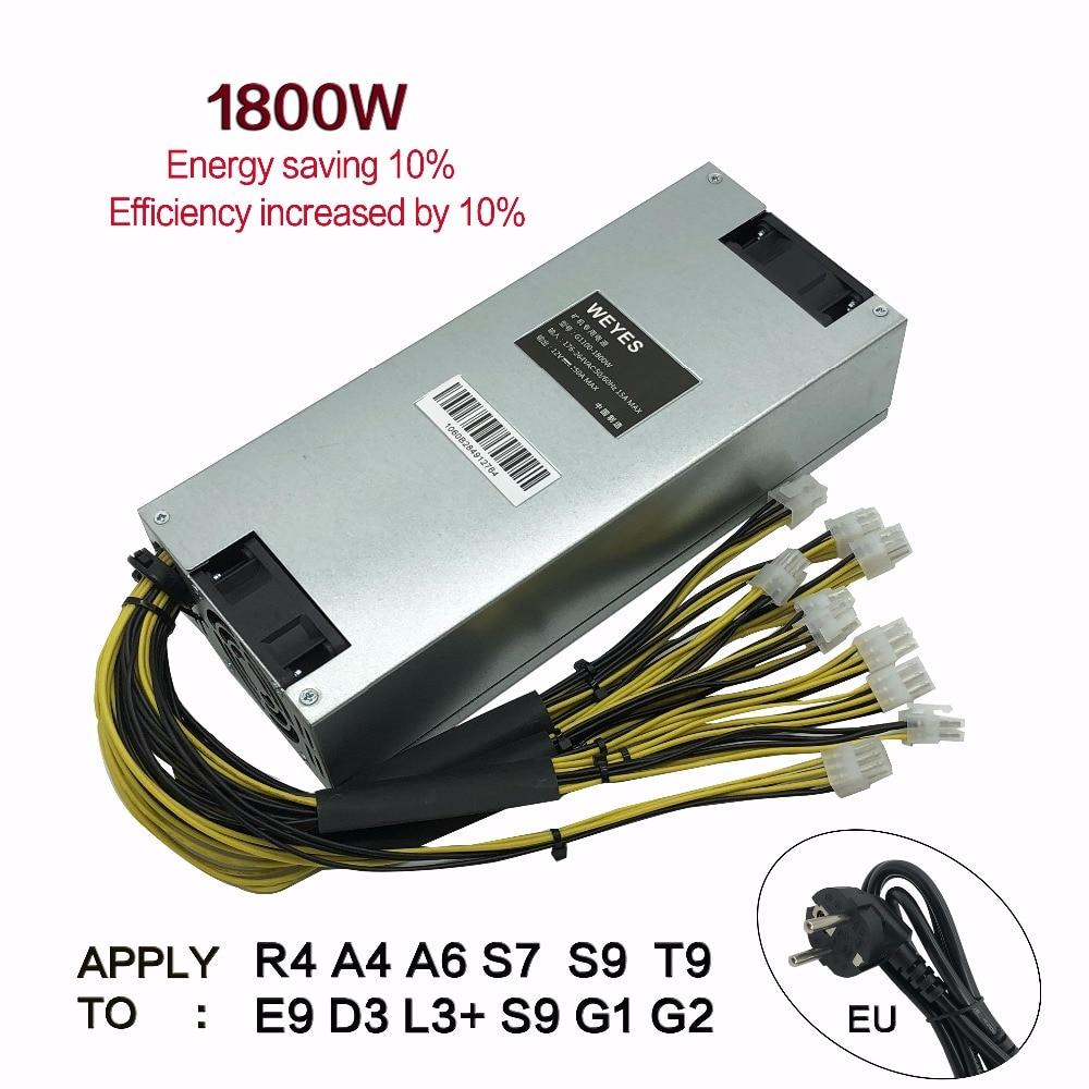 D'origine Bitmain 1800 w alimentation 6PIN * 10 Antminer APW3 + +-12-1600, ETH PSU, antminer S9 S7 L3 BTC LTC DASH mineur alimentation