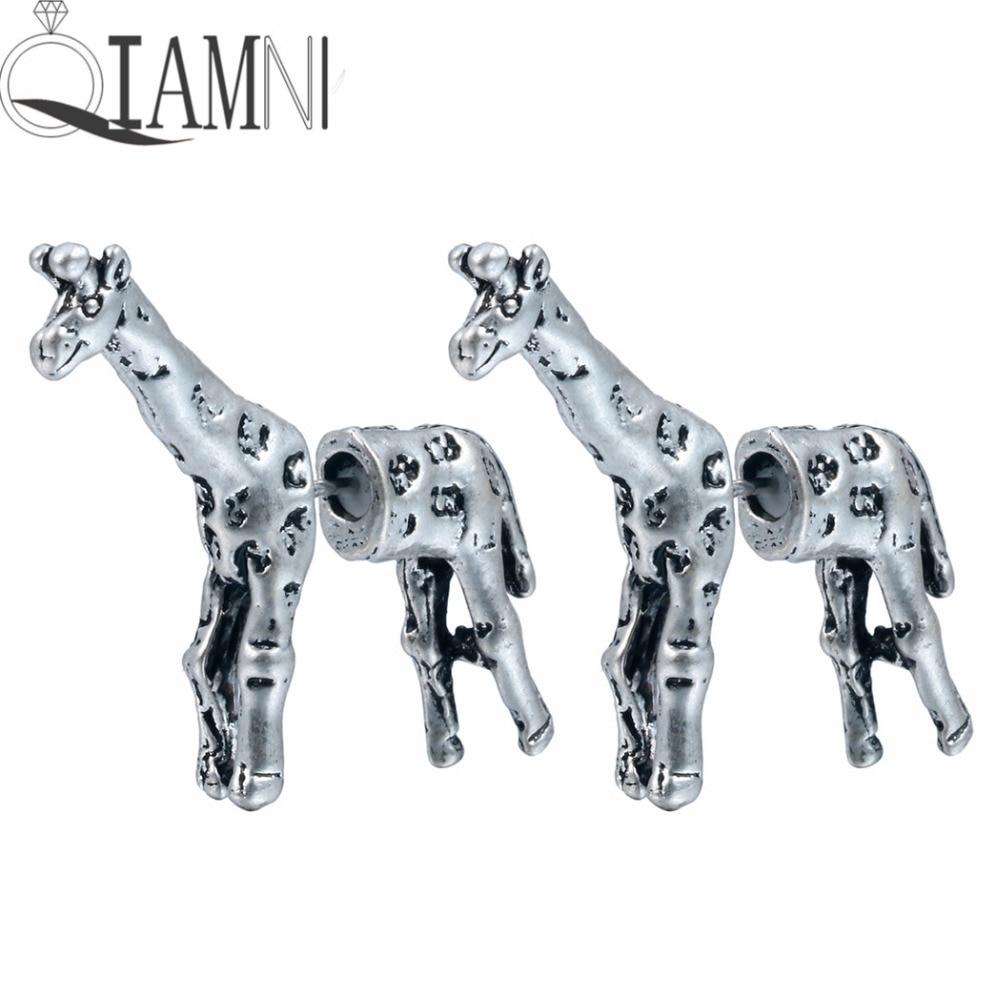 QIAMNI Trendy 3d Fake Gauge Giraffe Animal Stud Earring for Wome Men Birthday Gift Punk Gothic Jewelry