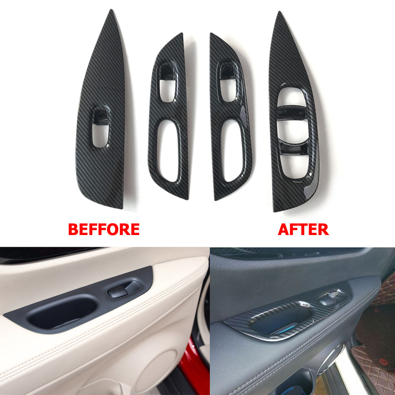 Carbon Fiber Door Window Button Switch Panel Cover Sticker Left Side Drive For Nissan X trail
