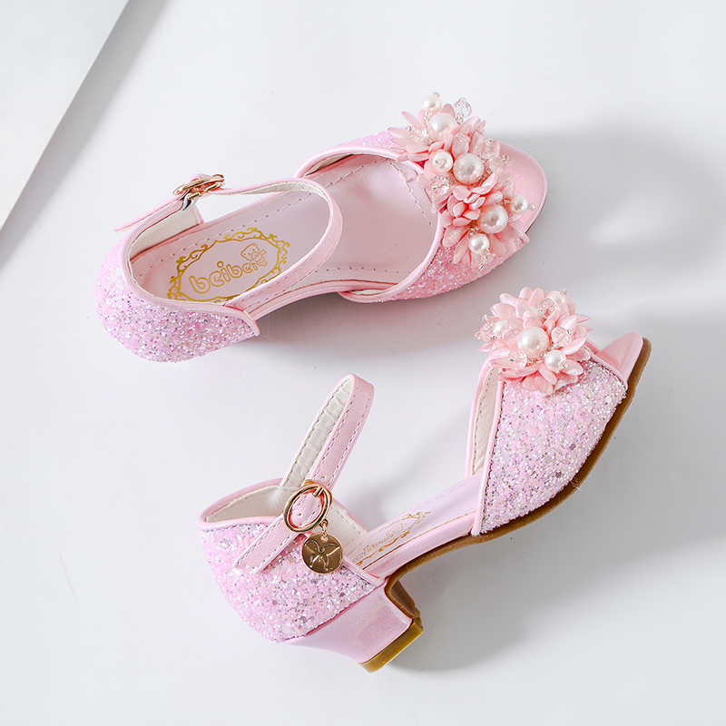 ULKNN Girls sandals 2019 new version of the summer big Girl princess student fashion fish mouth children high heel sandals in Sandals from Mother Kids