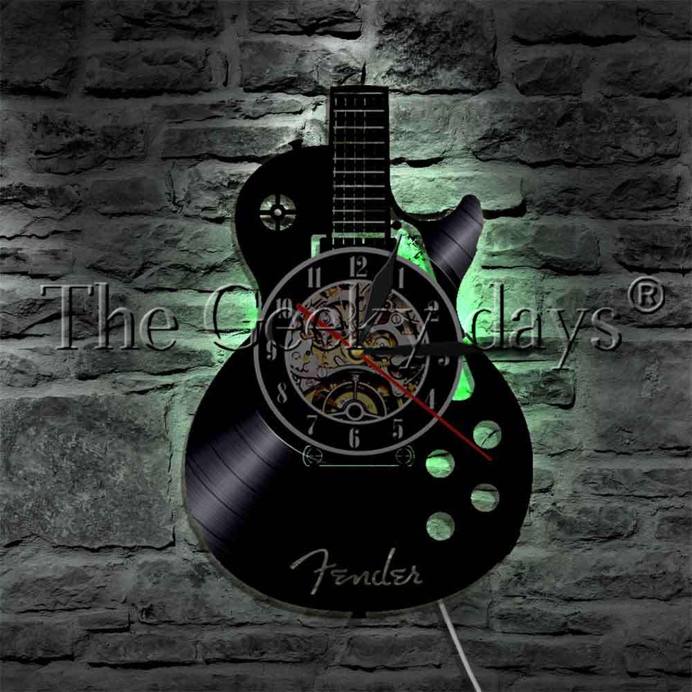 1Piece Guitar Musical Instrument Strings LED Light Vinyl Record Wall Clock Rock N Roll Music Wall Watch Decorative Lighting