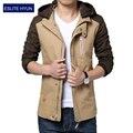 2017 nova moda primavera outono casual masculino jaqueta com capuz patchwork mens jaquetas e casacos chaquetas hombre plus size 3XL