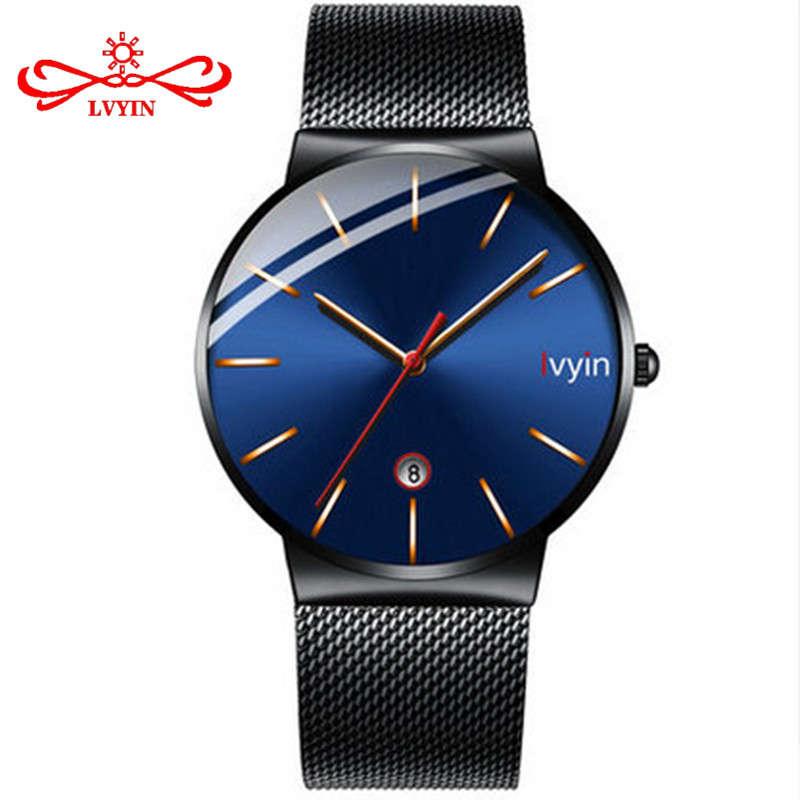 LVYIN Special 2.5D Convex Glass Quartz Watch Men Steel Mesh Watches Calendar Wrist Watch Simple Blue Business Watch Analog LY021 estel mohito набор клубника