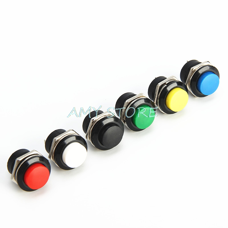 10pcs Momentary Push Button Switch 16mm Momentary 6A/125VAC 3A/250VAC  Round Switches R13-507 BLACK RED GREEN WHITE BLUE YELLOW