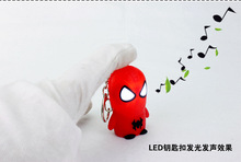 Cartoon spider-man LED key chain Creative gift pendant Personality LED flashlight gift for children wholesale