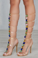 Sexy PVC Transparent Gladiator Sandals Woman Open Toe T strapColorful Rhinestone Diamond Clear High Heels Women Summer Boots