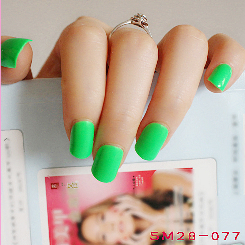 2018 24pcs hot fashion candy color cute nail finished fake nails ...