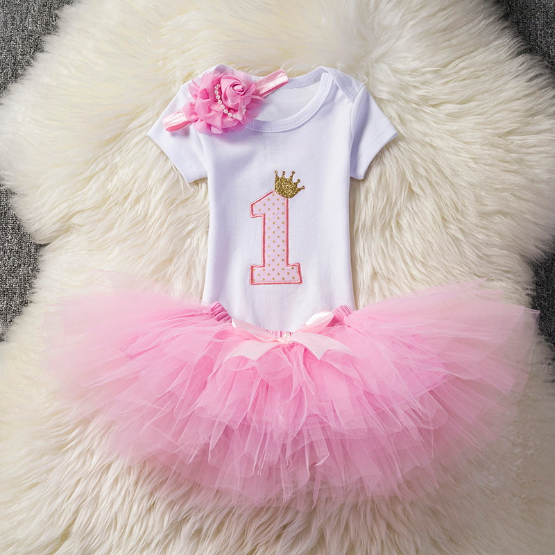 Toddler Girl Clothes First Birthday Party Dress Baby Set Newborn Clothing Sets Baby Girl Tutu Outfit Infant Baptism Clothes 2pcs per set hot pink baby girl crown tutu infant 2nd birthday party outfit romper bubble skirt baby girls second birthday dress