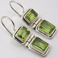 Silver NATURAL GREEN PERIDOT Gem TRADITIONAL Earrings 1 1/8 inches