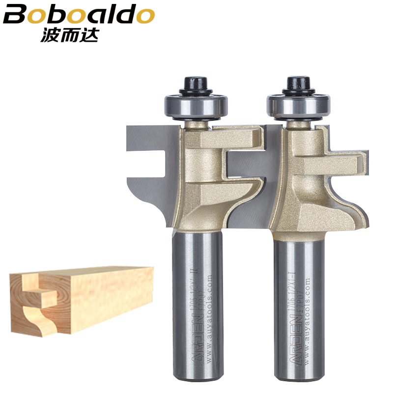 Woodworking Tools T-Tongue And Groove Set 2Pcs/set Style Rail Assembles Arden Router Bit -1/2*1-I,1/2*1-II -1/2