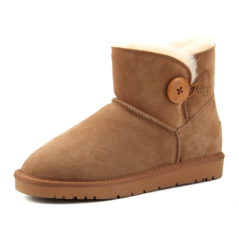 Comfortable suede cowhide fabric and thick wool warm wooden buttons Women 39 s snow boots solid color round head winter Men 39 s shoes in Ankle Boots from Shoes