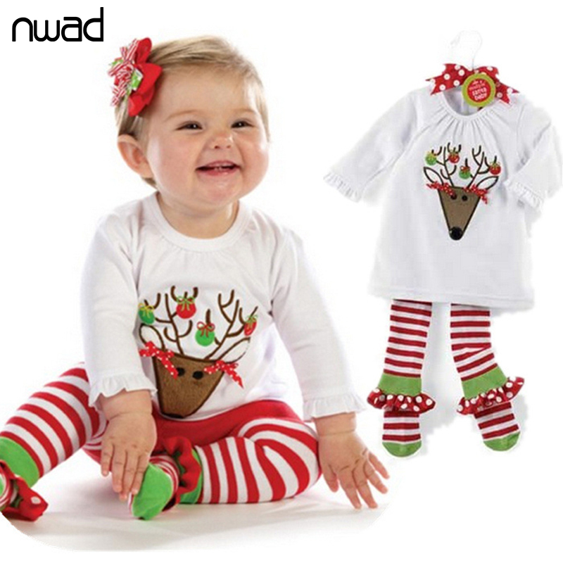 Baby Christmas Clothes Set 2016 New Fashion Deer Striped Clothing Suit For Newborn Baby Home Wear Kids Pajamas FF166