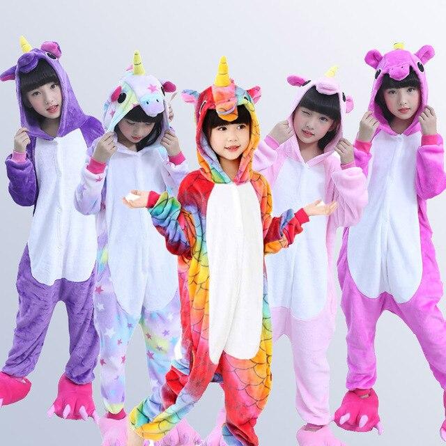 Kigurumi Children's Pajamas for Boys Girls Unicorn Pajamas Flannel Kids Stich Pijamas Set Animal Sleepwear Winter Onesies 4-12