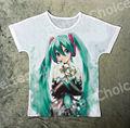 Track Ship+Vintage Retro T-shirt Top Tee Lorie Blue Long Hair Cartoon Singer Hatsune Miku Girl Enjoy lily Flower 1270