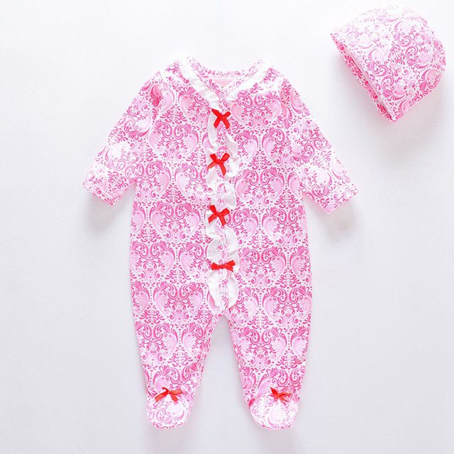 2018 Newborn Baby Rompers Boy Girl Dresses Unisex Clothing Cotton Long  Sleeves Outfit Prints Baby Girl Sweety Clothes Romper+Hat 6bd9a214b