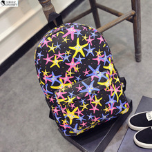 HANSOMFY   School Of Fashion Star Printing Wind Backpack Female Canvas Schoolbag Backpack Cute Korean
