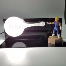 Dragon Ball Z Vegeta Figure Super Saiyan Kamehameha Anime Dragon Ball Z Action Figures Led Light Model Toy DBZ +Bulb+Base