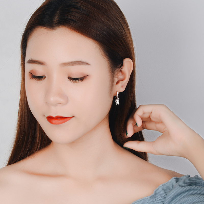 JYouHF Fashion 925 Sterling Silver Hoop Earrings for Women Female Gold Silver Star Charms Earrings Jewelry Oorbellen Earings in Hoop Earrings from Jewelry Accessories