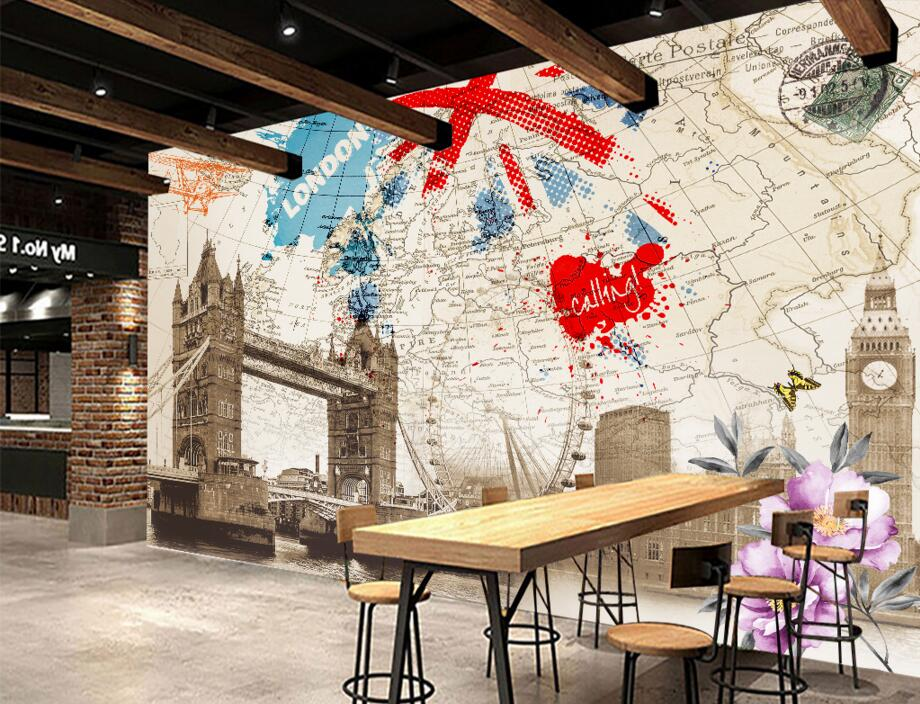 Aliexpress.com : Buy Custom 3d Mural,British Style Retro London Building  Map Wallpaper,bar Ktv Restaurant Living Room Bedroom TV Wall Papel De  Parede From ... Part 79