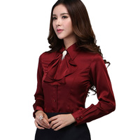 Blouse Shirt 2015 New Women Satin Silk S XXXL Long Sleeve Romantic Gorgeous Blouses Top Ladies